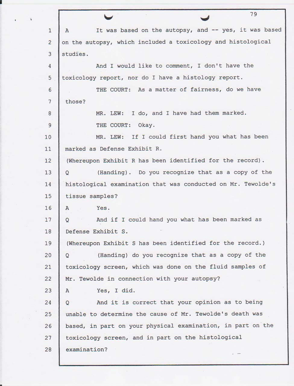 Dr. Thomas Rogers's Alameda County Coroner's office pathologist court testimony Jan. 24, 2008