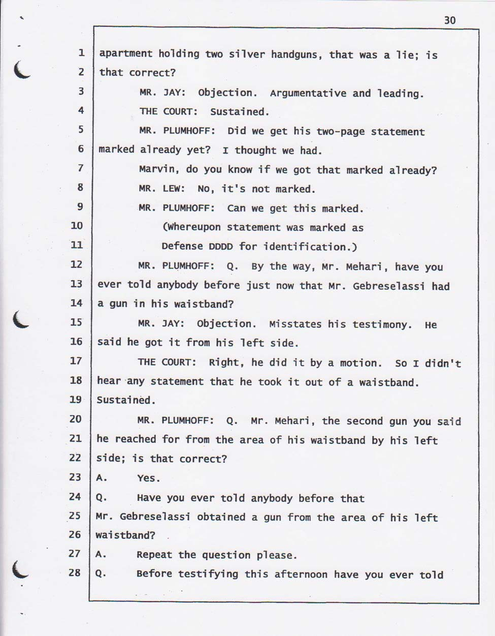 Yehferom's court testimony May 14, 2008.